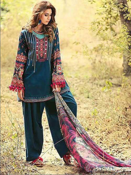 Sea Green Colored Beautiful Embroidered Pakistani Salwar Suit
