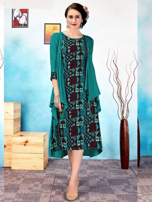 Sea Green Colored Beautiful Printed Jacket Style Rayon Kurti.
