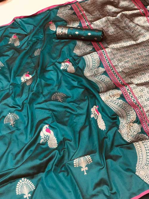 Sea Green Colored Beautiful Soft Silk Traditional Saree Online