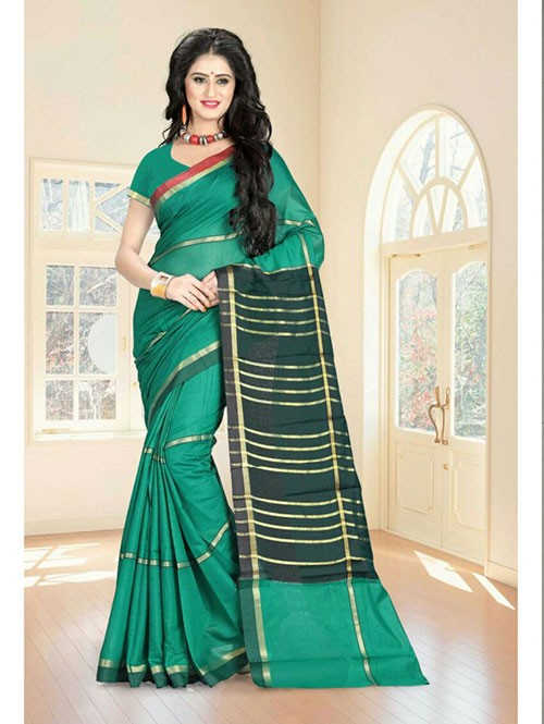 Sea Green Colored Cotton Material Exclusive Zari Border Saree