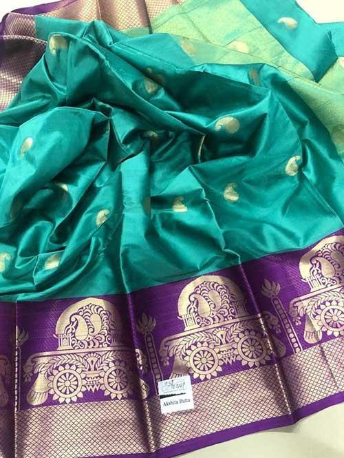 Sea Green Colored Cotton Silk Saree - Ashika Butta