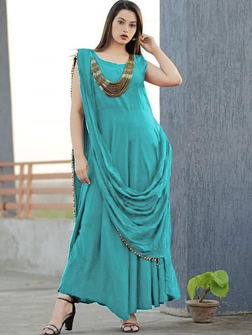 Sea Green Colored Saree Drape Style Indo-Western Rayon Kurti