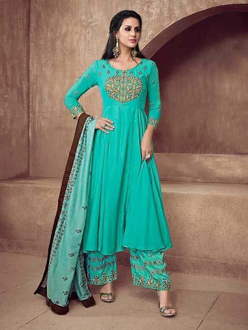 1a24859abb Sea Green Colored Women's Round Neck Embroidered Ready-Made Suit ...