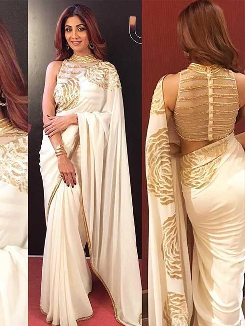 Shilpa Shetty in Beautiful Embroidered Georgette Saree