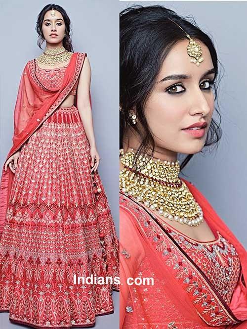 Shraddha Kapoor in Banglory Silk Red Lehenga Choli