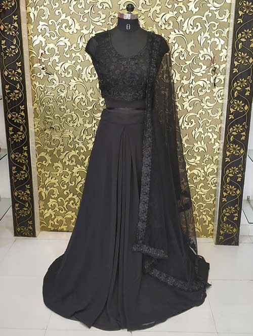 Shraddha Kapoor in Black Colored Georgette Lehenga With Beautiful Embroidered Crop Top