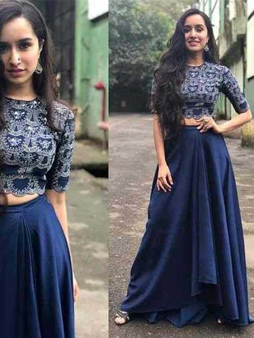 Shraddha Kapoor In Blue Colored Tapeta Silk Lehenga With Beautiful Top