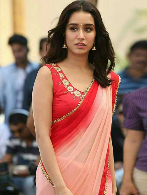 Shraddha Kapoor In Peach And Red Border Georgette Saree