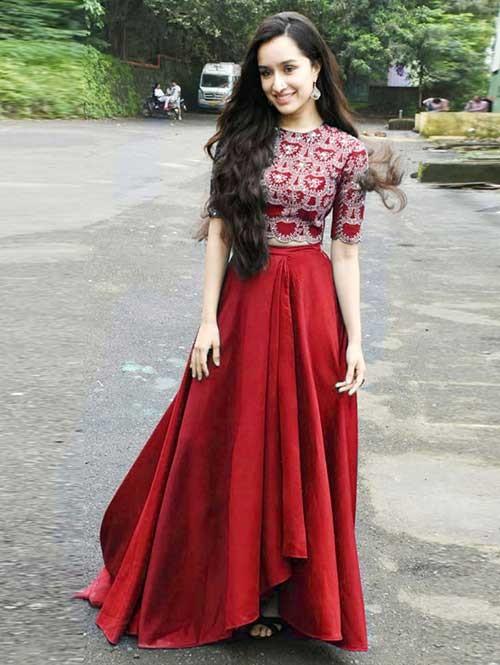 Shraddha Kapoor In Red Colored Tapeta Silk Lehenga With Beautiful Top