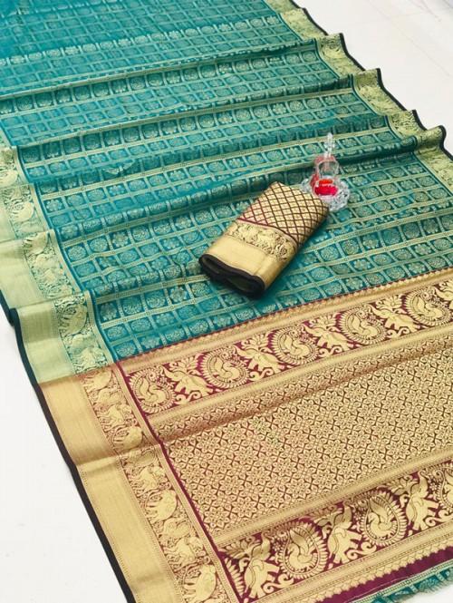 Silk Woven Kanchipuram Pattern saree gnp008147