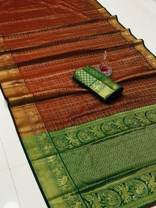 Silk Woven Kanchipuram Pattern saree gnp008150