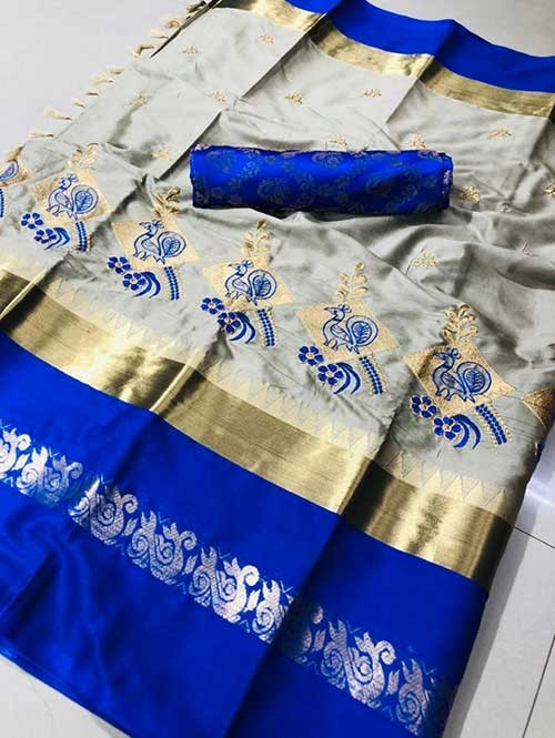 Silver Color Beautiful Embroidered Cotton Silk Saree Have beautiful Weaving Border - Kesari
