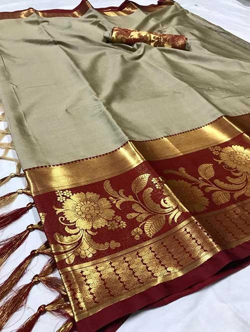 Silver Color Beautiful Weaving Cotton Silk Saree - Flavor