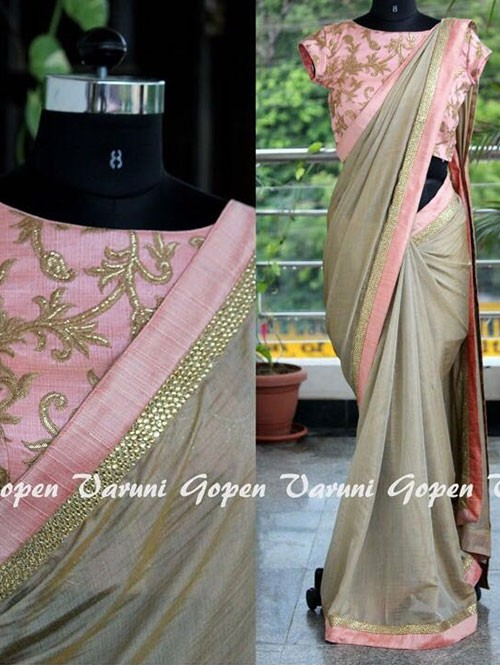 Silver Colored Beautiful Embroidered Chanderi Silk Saree