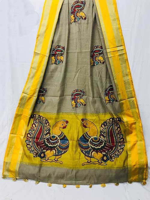 Silver Colored Beautiful Embroidered Cotton Saree