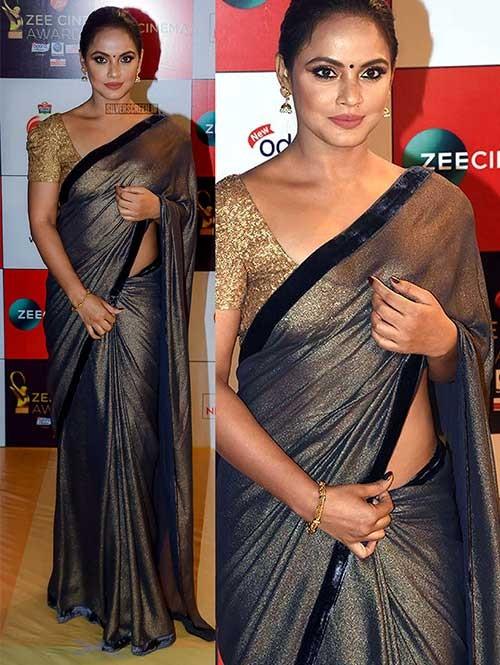 Silver Colored Beautiful Imported Silk Saree