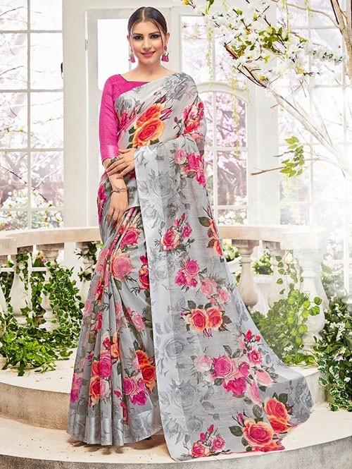 Silver Colored Beautiful Linen Cotton Saree With Authentic Handloom Art Prints Based On Mastered Art Of Weaving Fabrics