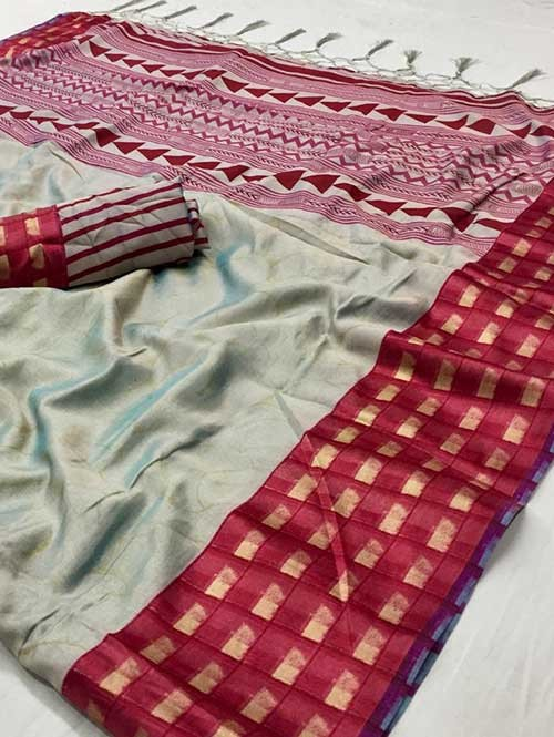 Silver Colored beautiful Printed Silk Saree