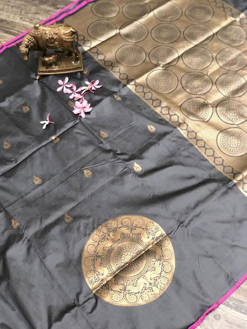 Silver Colored Beautiful Soft Silk Traditional Saree Online