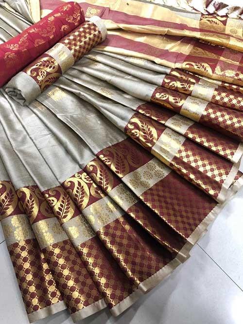 Silver Colored Cotton Silk Saree - Shawa