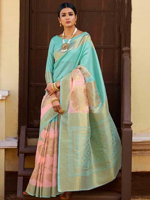 Sky and Peach Color Beautiful Weaving Silk Saree - Kanshula