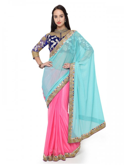 Sky Blue And Pink Colored Lycra embroidery Designer Saree