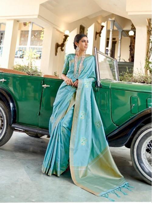 Sky Blue Soft Banarasi Silk Zari Base saree