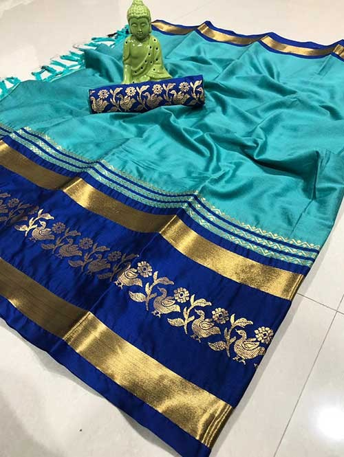 Sky Color Beautiful Weaving Cotton Silk Saree