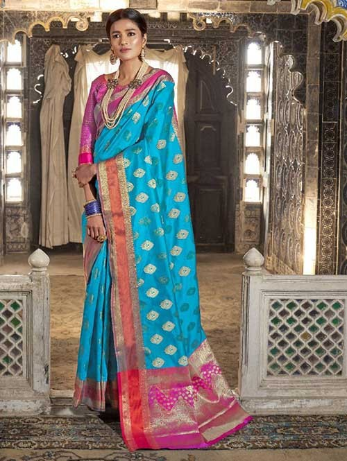 Sky Color Beautiful Weaving Silk Saree - Kaanch