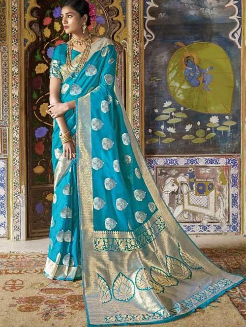 Sky Color Beautiful Weaving Silk Saree - Kailashi