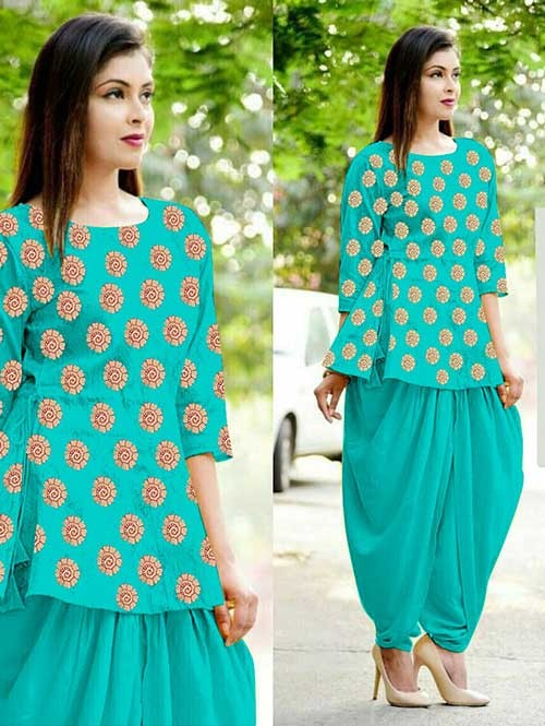 Sky Color Heavy Cotton Jacquard Patiyala Style Ready-made Suit - Bunaai 3