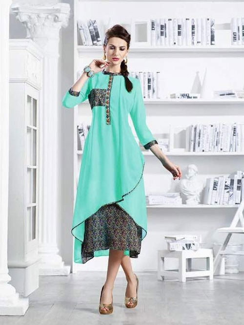 Sky Colored Apricot Fancy Georgette Khatali Embroidered Work Kurti