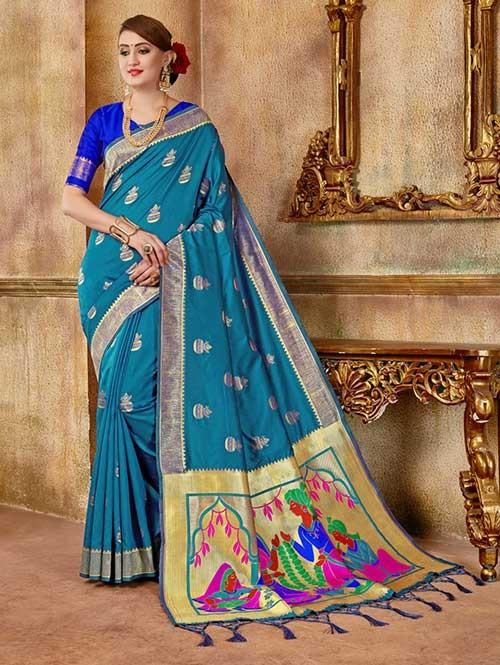 Sky colored Beautiful Banarasi Silk Saree