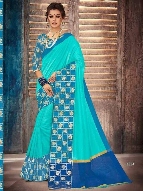Sky Colored Beautiful Banarasi Silk Saree With Rich Blouse