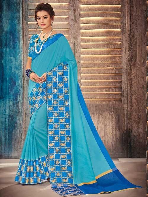 Sky Colored Beautiful Banarasi Silk Saree With Rich Blouse