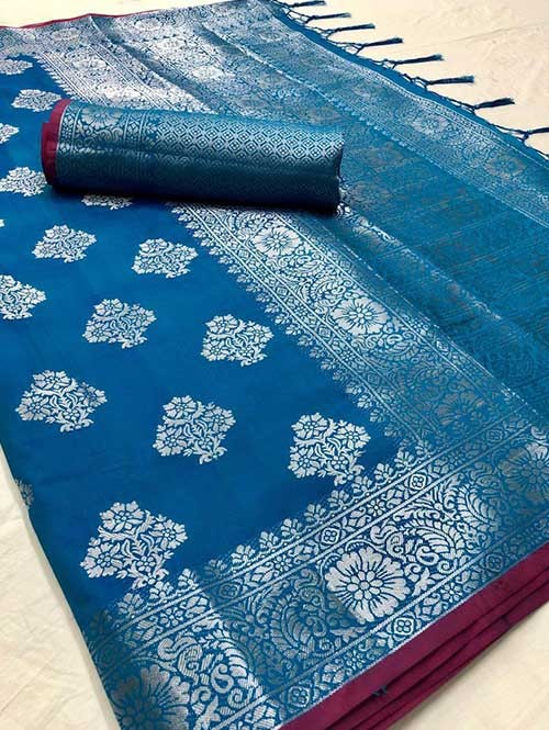 Sky Colored Beautiful Branded Weaving Soft Silk Saree - Kanthpattu