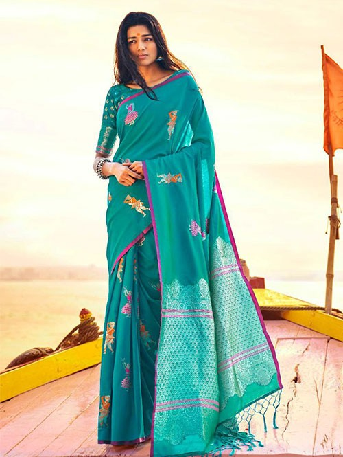 Sky Colored Beautiful Branded Weaving Soft Silk Saree