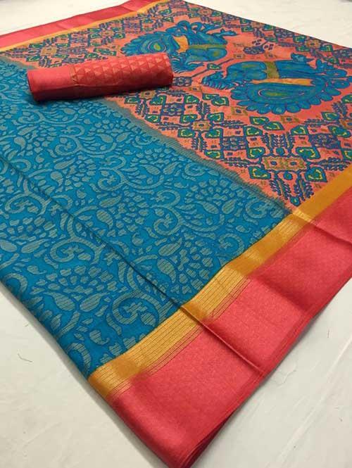Sky Colored Beautiful Brasso Soft Silk Fancy Saree With Kalamkari - Kudrat