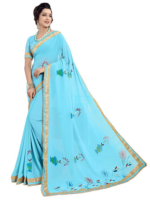 Sky Colored Beautiful Chiffon Ari Work and Printed Saree