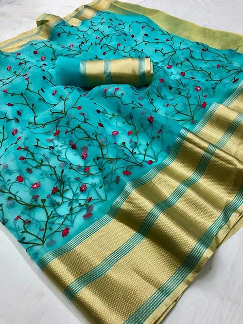 Sky Colored Beautiful Embroidered Branded Organza Silk Sarees
