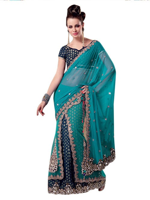 Sky Colored Beautiful Embroidered Net Lehenga Saree