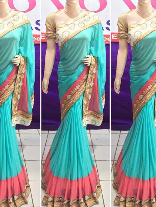 Sky Colored Beautiful Embroidered Pure Lycra Saree