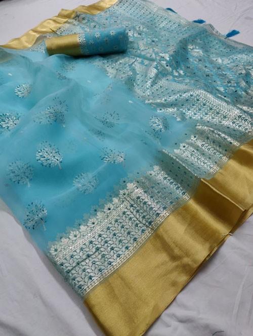 Sky Colored Beautiful Foil Printed Organza Saree - Palkhi