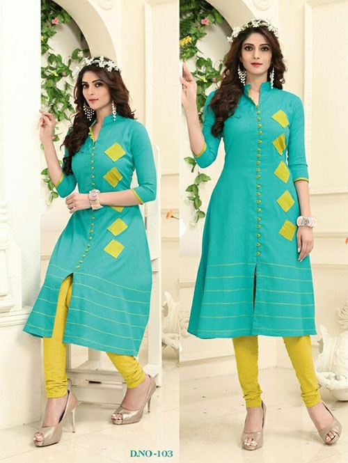 Sky Colored Beautiful Linen Cotton Kurti