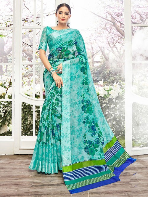 Sky Colored Beautiful Linen Cotton Saree With Authentic Handloom Art Prints Based On Mastered Art Of Weaving Fabrics