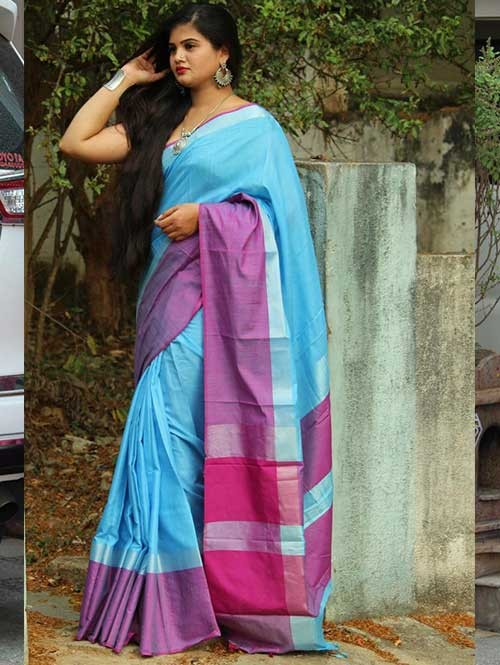 Sky Colored Beautiful Linen Saree With Running Blouse