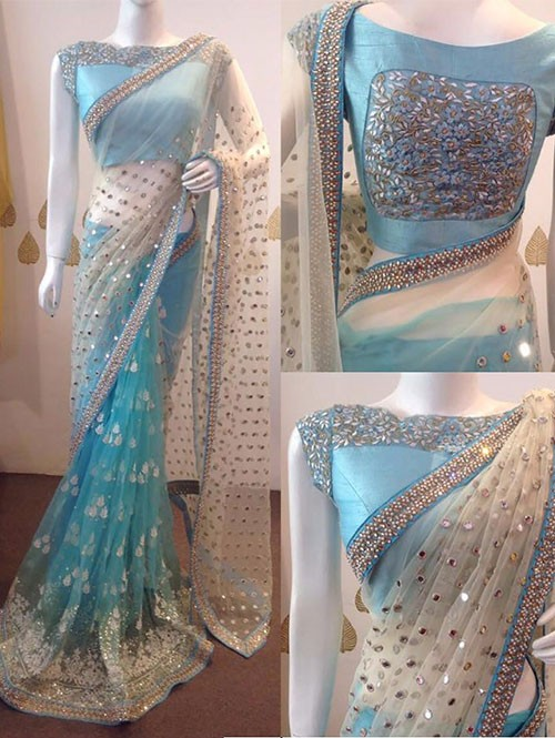 Sky Colored Beautiful Naylon Mono Net Saree Which Has Beautiful Embroidary