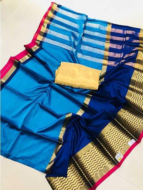 Sky Colored Beautiful Pure Silk Cotton Saree