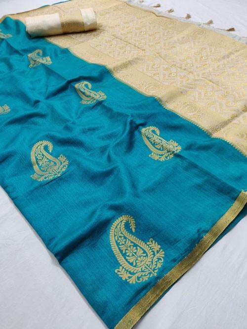 Sky Colored Beautiful Soft Banglory Silk With Rich Pallu Saree - Rajkumari