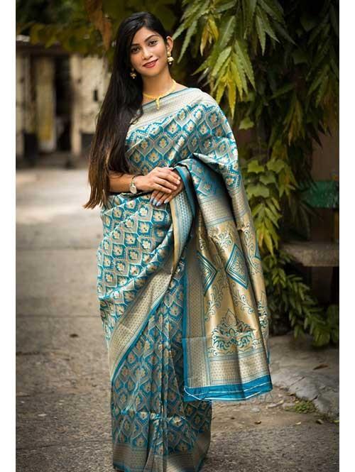 Sky Colored Beautiful Soft Silk Traditional Zari Weaving Sare